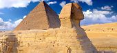 picture of pharaoh  - Great Pyramid of Pharaoh Khufu located at Giza and the Sphinx - JPG