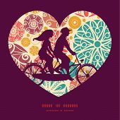 picture of tandem bicycle  - Vector abstract decorative circles couple on tandem bicycle heart silhouette frame pattern greeting card template graphic design - JPG
