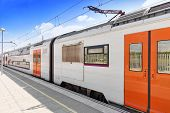 foto of gare  - Suburban railway train at the railways station  - JPG