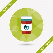 picture of takeaway  - Takeaway Coffee Flat Icon With Long Shadow - JPG