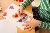 stock photo of paper craft  - Kids children doing Valentine - JPG