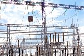 stock photo of transmission lines  - Energo Substation and Power Transmission Lines in big city - JPG