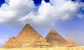 picture of pharaohs  - Great Pyramids located in Giza the pyramid of Pharaoh Khufu Khafre and Menkaure. Egypt. ** Note: Shallow depth of field - JPG