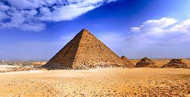 stock photo of pharaohs  - Great Pyramid of Giza called the pyramid of Pharaoh Khufu - JPG