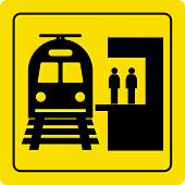 pic of passenger train  - railway station train and passengers yellow sign vector - JPG
