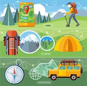 foto of tent  - Man traveler with backpack hiking equipment walking in mountains - JPG