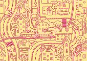 picture of tram  - Seamless vector background pattern with streets - JPG