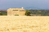 pic of plateau  - chapel with grain field - JPG