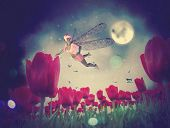 stock photo of night-blooming  - Dream fairy in fantasy land with bright red tulips at night time - JPG