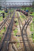 stock photo of locomotive  - Panorama of the old railway line and locomotive  - JPG
