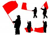 stock photo of anarchists  - People of with large flags on white background - JPG