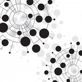 foto of nerve cell  - Abstract dots and circles connected by lines and curves - JPG