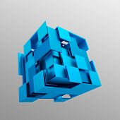 image of fi  - Abstract 3d rendering of flying cube - JPG