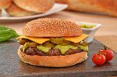 foto of jalapeno  - Jalapenos rustic cheese burger and avocado sauce - JPG