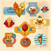 picture of whip-hand  - Ice cream delicious frozen dessert paper labels set isolated vector illustration - JPG