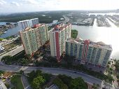 stock photo of pov  - Aerial image of residential buildings in Sunny Isles Beach FL