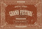 picture of prospectus  - Illustration of a retro vintage horizontal festival poster background with floral and royal shapes frames banners and grunge texture - JPG
