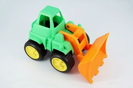 stock photo of dredge  - Small bulldozer toy - JPG