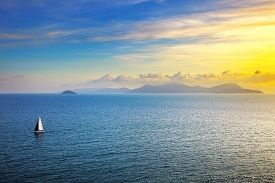 picture of boat  - Elba island sunset view from Piombino an sail boat yacht - JPG