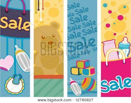 Постер, плакат: Baby Продукты продажи Вертикальные баннеры вектор, холст на подрамнике