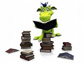 image of storytime  - A cute friendly cartoon monster sitting on a pile of books and reading a book that he is holding in his hands - JPG