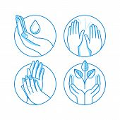 Vector Set Of Icons And Illustrations In Linear Style - Massage Related Emblems poster