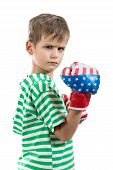 foto of pugilistic  - Angry boy pugilist isolated on a white background - JPG