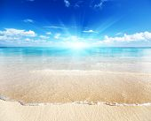stock photo of summer beach  - sand of beach caribbean sea - JPG