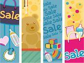 Постер, плакат: Baby Продукты продажи Вертикальные баннеры вектор