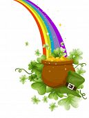 stock photo of end rainbow  - Pot of Gold at the End of a Rainbow - JPG