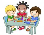 stock photo of molding clay  - A Small Group of Kids Creating Different Figures From Clay  - JPG