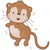 stock photo of gerbil  - Illustration of a Cute Gerbil Bouncing Happily - JPG
