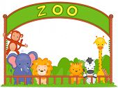 stock photo of zoo animals  - Illustration of Zoo Animals Leaning on the Fence - JPG