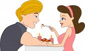 Illustration of a Pin Up Couple Having Dinner with Candle Light