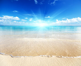 picture of summer beach  - sand of beach caribbean sea - JPG
