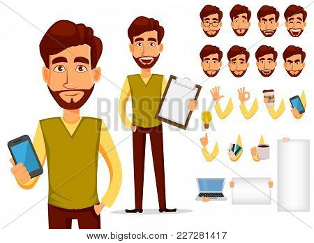 poster of Pack Of Body Parts And Emotions. Vector Character Illustration In Cartoon Style. Business Man With B