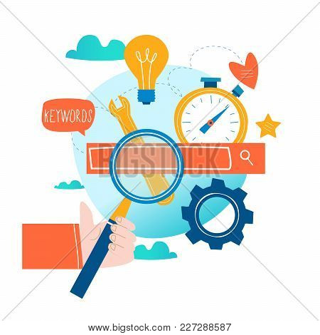 poster of Seo, Search Engine Optimization, Keyword Research, Market Research Flat Vector Illustration. Seo Con
