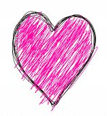 picture of hand drawn  - hand drawn heart illustration in black and purple - JPG