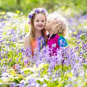 Kids With Bluebell Flowers, Garden Tools poster