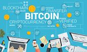 Bitcoin. Flat Design Style Web Banner Of Blockchain Technology, Bitcoin, Altcoins, Cryptocurrency Mi poster