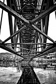 Riveted Bridge Seen From Underneath. Black And White High Contrast poster