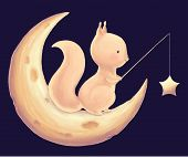 Squirrel Catch The Stars For A Fishing Rod Cute Children Print. Rodent And Night Sky Card. Illustrat poster