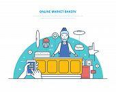 Online Market Bakery. Order Registration, Product Range Selection, Cashless And Cash Payment, Seller poster