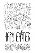 Vector Happy Easter Card With Outline Rabbit And Easter Symbols In Black Isolated On White Backgroun poster
