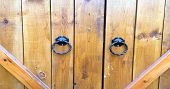Wood Texture Background, Wood Door Planks. Old Washed Wood Door Pattern Top View. Close Up On Ancien poster