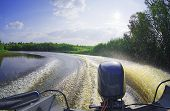 The Background Surface Of Water Behind A High-speed Motor Boat On The Siberian Taiga River Sogom poster
