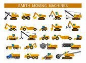 Earthmoving Machines. Construction Machinery Icons Set. Earth Mover Vehicles Types. Vector Silhouett poster