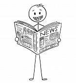 Cartoon Stick Man Drawing Conceptual Illustration Of Smiling Happy Businessman Reading Good News In  poster