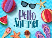 Hello Summer Vector Banner Design With Beach Elements Floating In Blue Pattern Background. Summer Ba poster