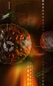 foto of polio  - Digital illustration of  polio virus in colour  background - JPG